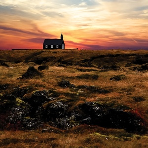 Postcard lonely church