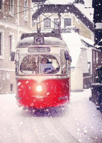 red tram in winter - picture 1