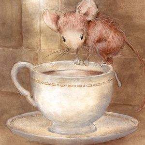 Collection watercolours - mouse in the teacup