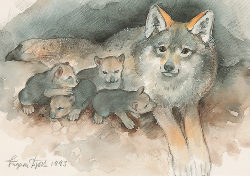 she-wolf with cubs - picture 1