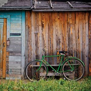 Postcard green bicycle
