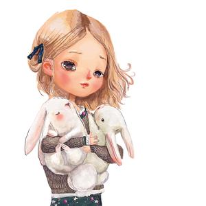Postcard girl with rabbits