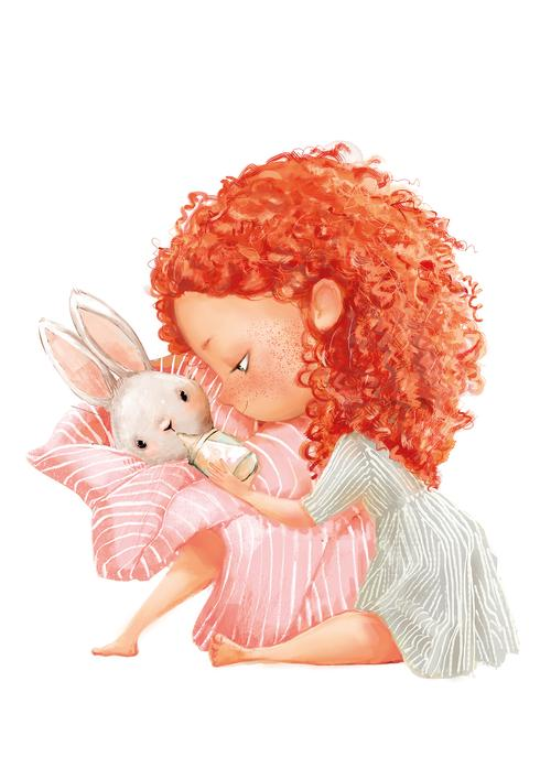 redhead girl with little bunny - picture 1