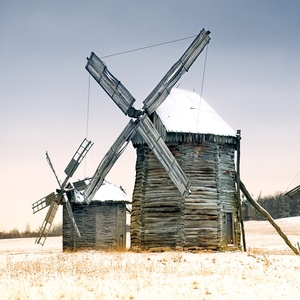 Postcard old wooden windmills