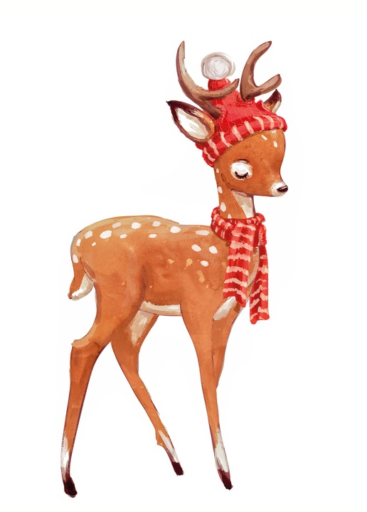 deer in red hat and scarf - picture 1