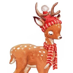 Postcard deer in red hat and scarf