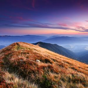 Postcard sunset in ukrainian carpathians