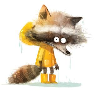 Postcard raccoon in yellow raincoat