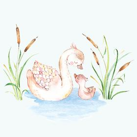 Collection mums & babies - swans