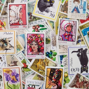 Postcard polish stamps