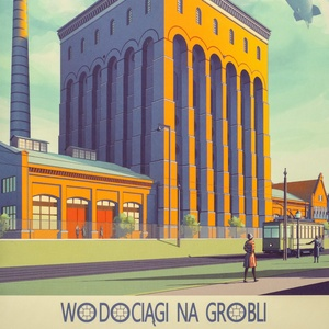 Collection wrocław postcards - wrocław - na grobli waterworks