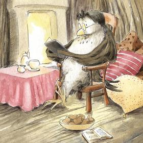 Collection watercolours - owl the reader
