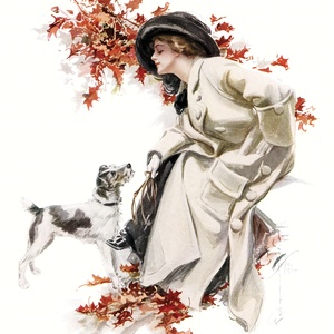 "Collection ""women"" by harrison fisher - lady with a dog"
