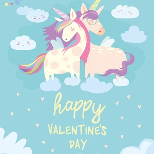 Postcard happy valentine's day - unicorns