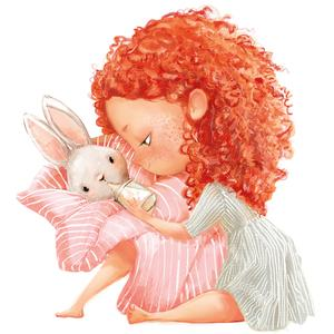 Postcard redhead girl with little bunny