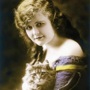 Postcard girl with cat