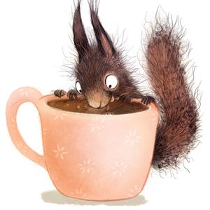 Postcard squirrel with coffee