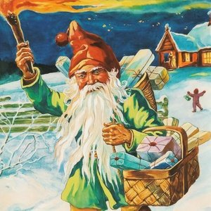 Postcard gnome with christmas gifts