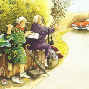 Collection old ladies - hitch-hiking