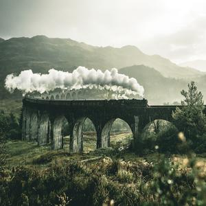 Postcard glenfinnan viaduct in scotland