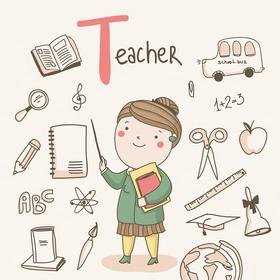 Collection cute alphabet profession - t - teacher
