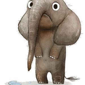 Postcard sad elephant