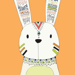 Postcard tribal rabbit