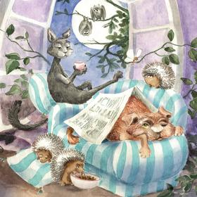 Collection watercolours - the cat, the dog and their friends