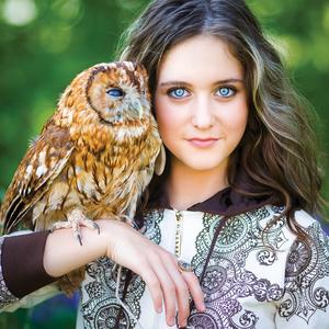 Postcard girl with owl
