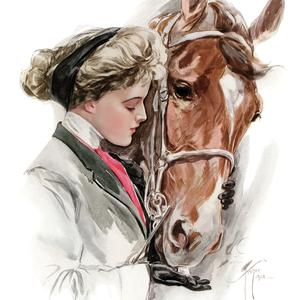 Postcard lady with a horse