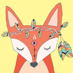 Postcard tribal fox