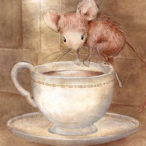 Postcard mouse in the teacup