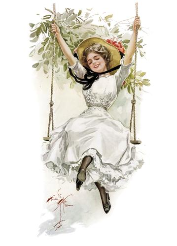 summer girl on swing - picture 1
