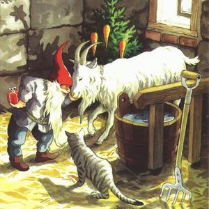 Postcard gnome with goat and cat