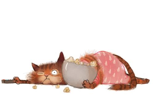cat with popcorn - picture 1