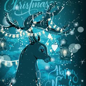 Postcard christmas deer