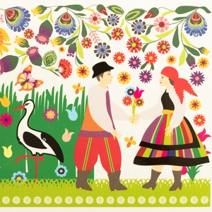 Postcard łowicz folklore - couple and storks
