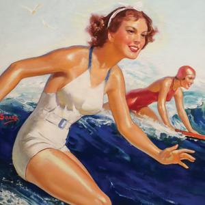 Postcard two surfer girls