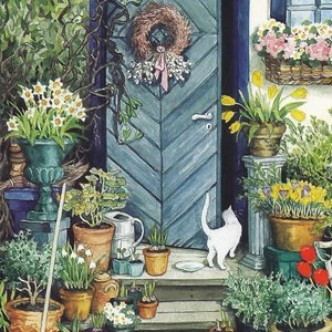 Collection garden - white cat by the door