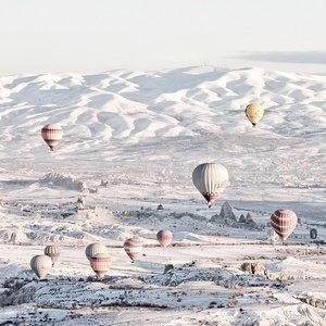 Postcard hot air balloons over cappadocia