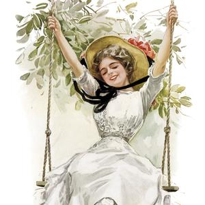Postcard summer girl on swing